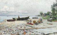 Peder Mørk Mønsted,  Beach Scene at Hellebaek, 1892