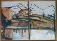 The pool at Jas de Bouffan.  After P Cezanne.