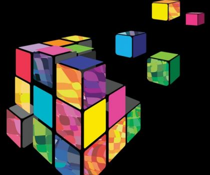 Rubik cube 3D vector with black background