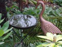 Bird statue and Birdbath
