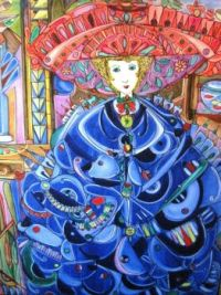 Lady in Blue with the Big Hat