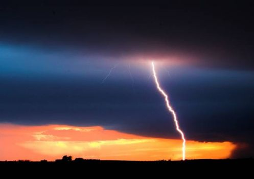 Sunset and Lightning
