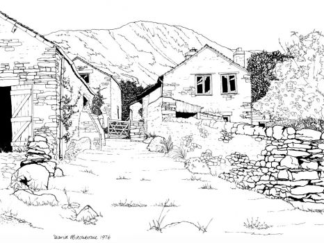A drawing I did of a Lakeland Farm, Cumbria - 1976