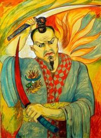 Samurai Warrier  watercolours on paper.