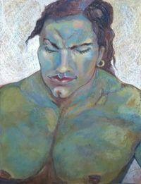 The thinker. ( Sennelier oil pastels on ingres paper.)