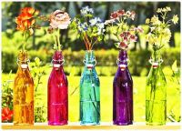 Coloured Glass Bottles with Flowers