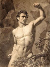 (Attributed to) Louis Eugene Lariviere (1801–1823), Academic Drawing of a Nude Male with Arm Raised