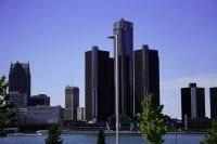 Cityscape of Downtown Detroit from Canada