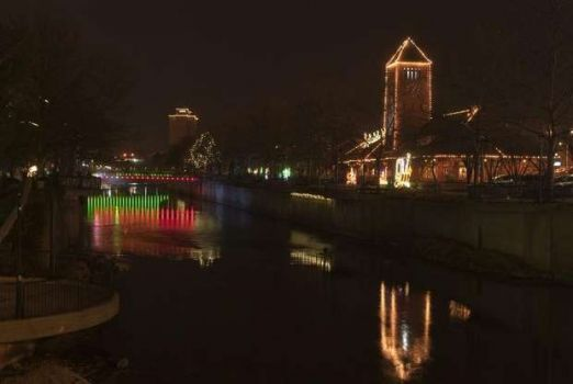 Festival of Lights, view of the old depot along the Battle Creek.