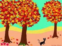 Cat Strolling Among Autumn Trees (Sep17P69) - Challenging