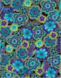 L. Burch purple & blue flower pattern