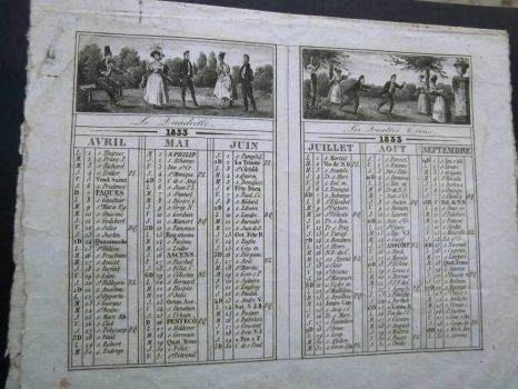The oldest pocket calendar from my collection - side 1