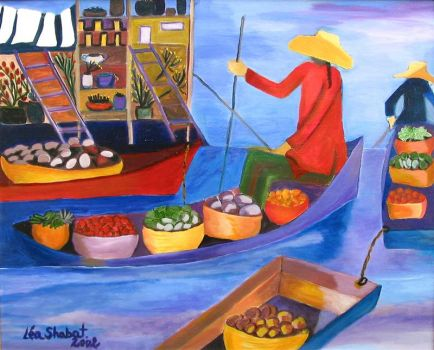 Floating Market-Bangkok by Lea Shabat