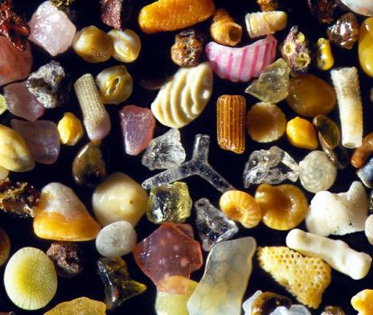 Morskoi sand under a microscope with a 300-fold increase