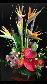 Happiness is….Luxurious Tropical Flower Arrangement.