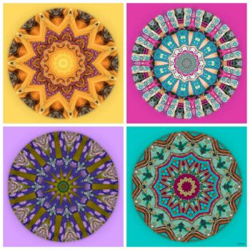 Weekly Theme 'Music and Dance': Kaleidos made from ...... Bollywood Costume Fabrics!! ~ Speed Challenge size!