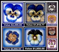 Theme- Antiques - Antique Enamel Pansy Brooches with Seller's Prices