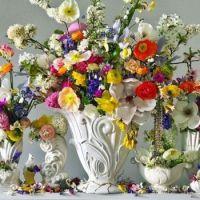 White Vases of Flowers