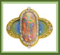 je Marcus, opal, gold, diamond brooch
