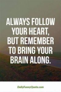 Always follow your heart, but remember to bring your brain along