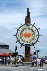 Fishermans Wharf crab wheel sign
