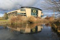 Autzen Stadium reflected in Alton Baker