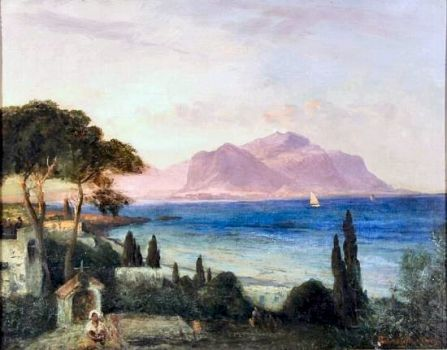 View of Palermo Bay, Monte Pellegrino in the Background, 1880s by Oswald Achenbach