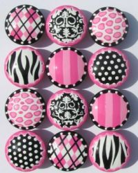 Hot Diva Pink and Black Knobs