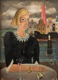Elegant Lady On Quay Terrace- Reimond Kimpe -Belgian-Dutch Artist