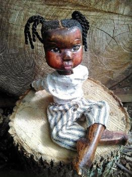 Libby, An Adorable Hand Carved Poplar Wood Doll By Kor January From Black Doll Collecting Blog