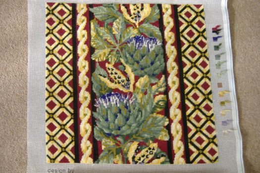Tapestry Cushion - Autrumn Artichokes