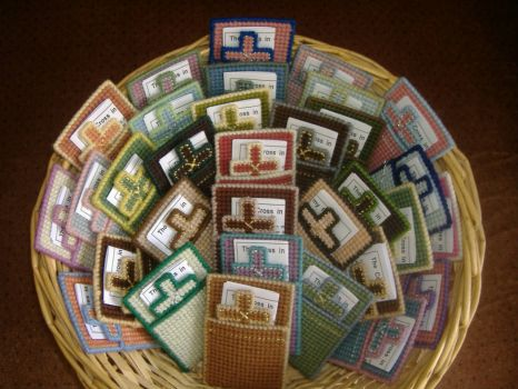 Basket of Tapestry Crosses - Pastels