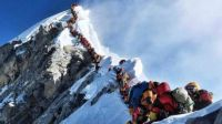 A 'traffic jam' at the summit of Everest.