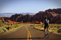 Bicyclist in Zion National Park
