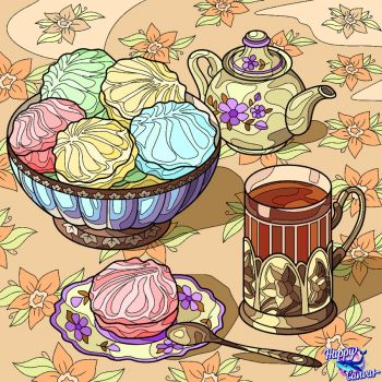 French Macrons and Tea--Yumm!