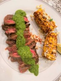 Chimichurri skirt steak and street corn