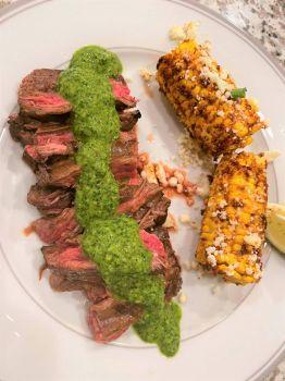 Chimichurri skirt steak and street corn