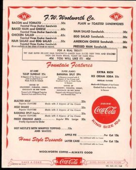 1957 Woolworth's Menu