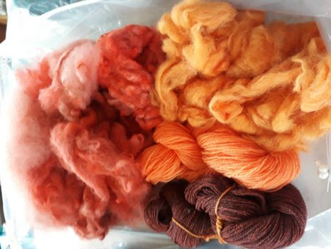 Fibres and yarn dyed in warm colors