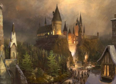 Hogwarts view from the village