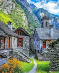 Old Village in the Swiss Alps....