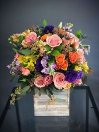 Happiness is….Tall wooden box, Bright Flower Arrangement