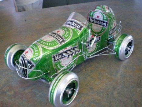model car made from cans