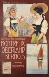 Themes Vintage Travel Poster - Montreux-Berner Oberland Railway Company