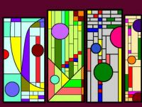 Stained glass designs.