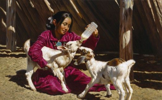Little maiden feeding the goats