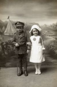 Vintage Photos of Children Dressed as  Soldier and Nurse 1914 -1918