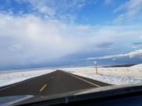 snowy road in Eastern Oregon
