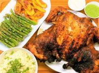 Roast chicken, asparagus, rice and plantains