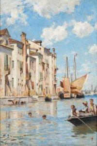 "Carl Skånberg, ""Children Bathing, Venice"""
